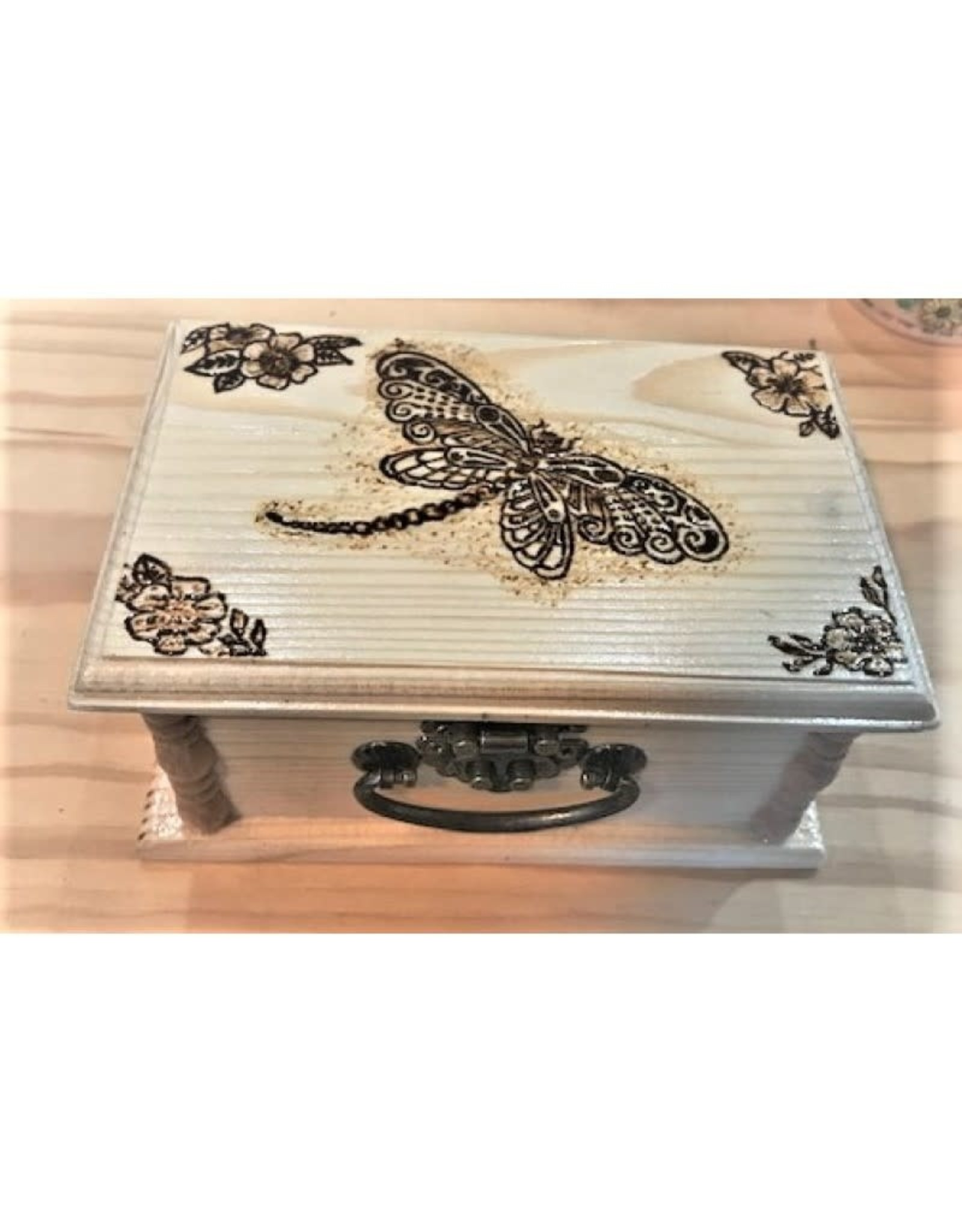 CraftCesi Handmade Wooden Jewelry Box - Dragonfly Natural