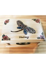 CraftCesi Handmade Wooden Jewelry Box - Colorful Dragonfly Customizable