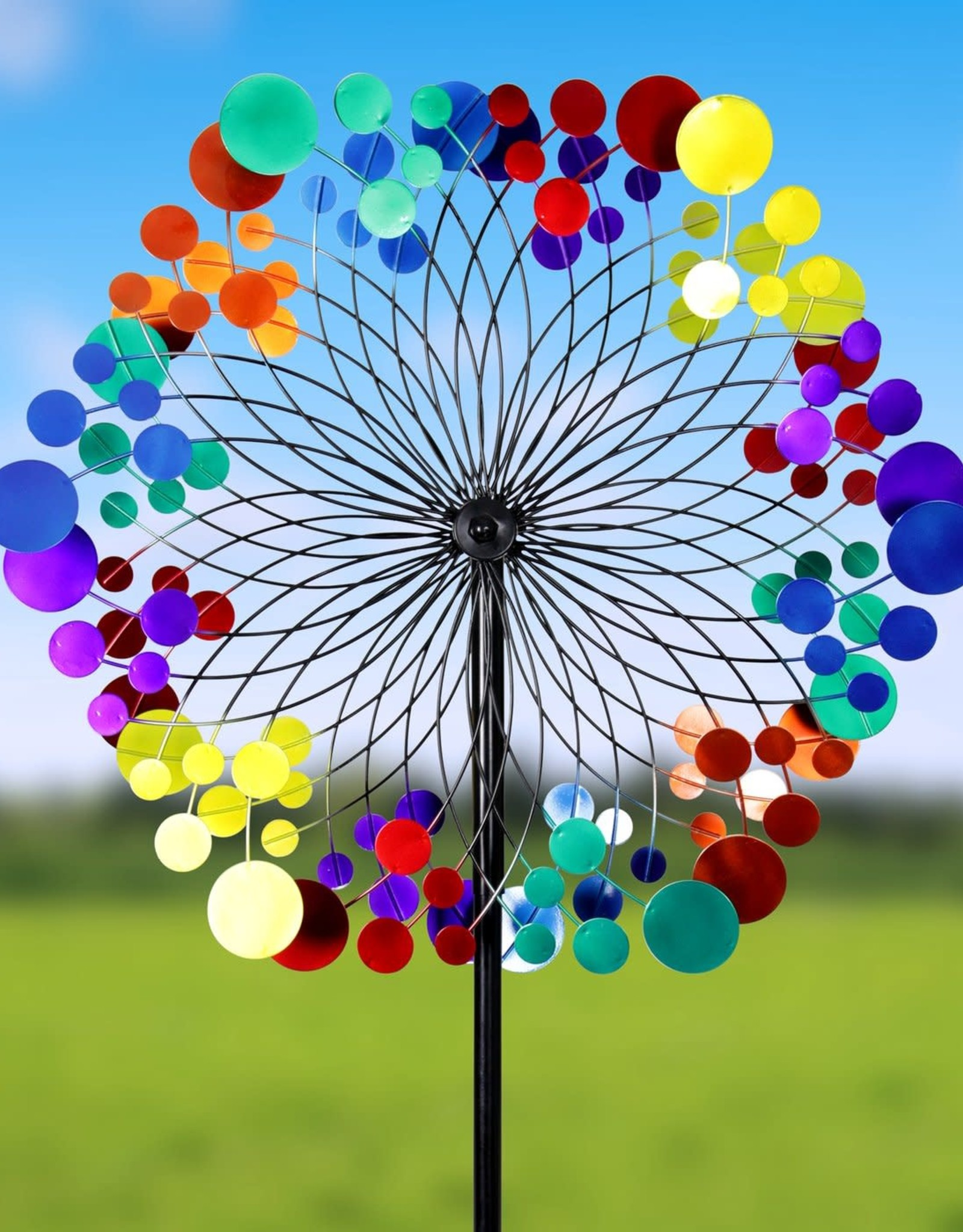 Kinetic Wind Spinner Stake - Colorful Circles