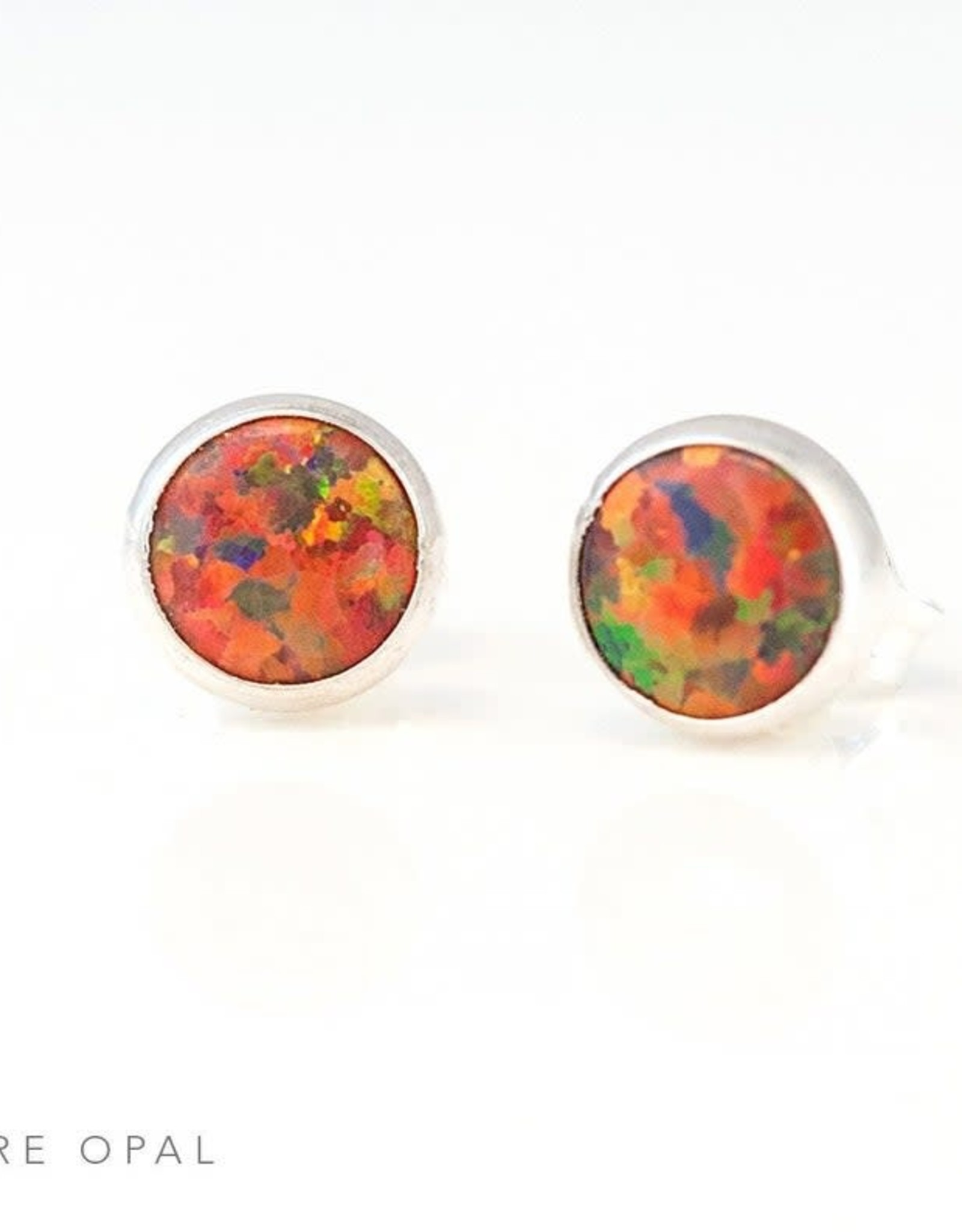Stud Earrings - Fire Opal/Silver