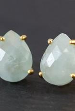 Stud Earrings - Aquamarine/Silver
