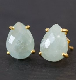 Stud Earrings - Aquamarine/Silver