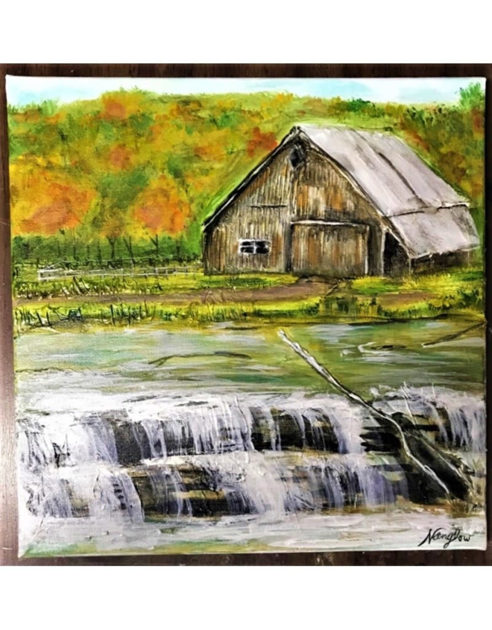 "Nanglow Fine Art ""Waterfall Barn"" 12 x 12"