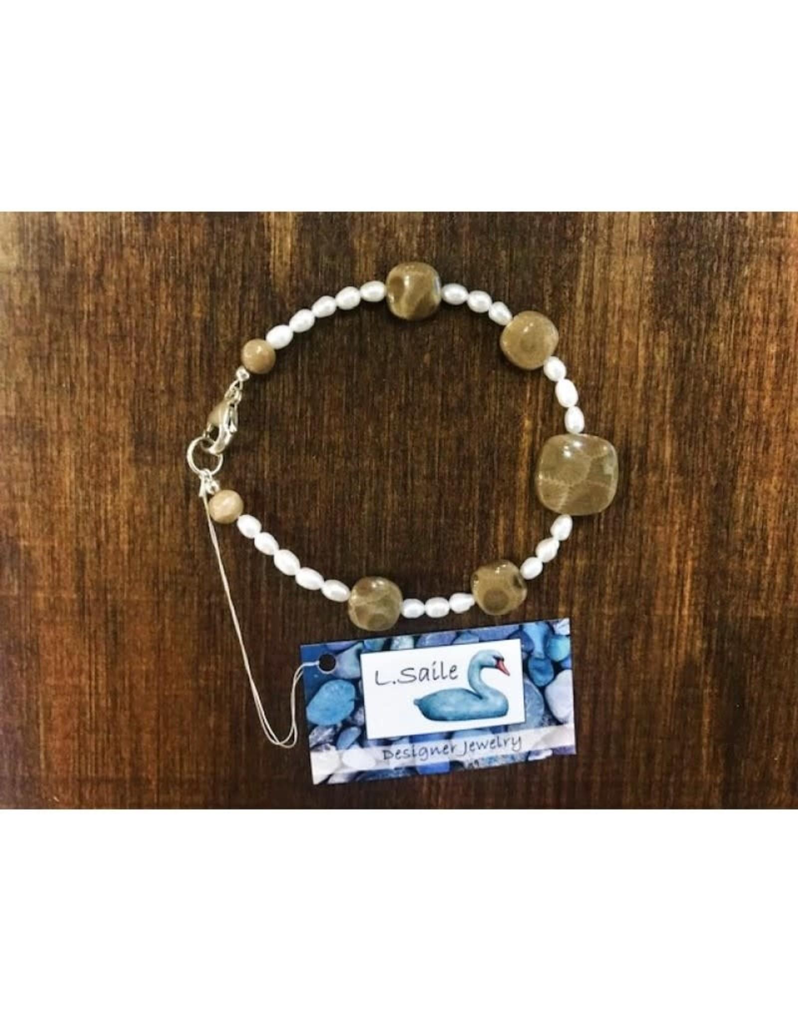Bracelet - Petoskey Stone & Freshwater Pearl