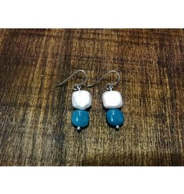 French Hook Earrings - Freshwater Pearl & Leland Blue