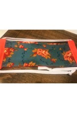 Bear Den Handmade Cotton Mask - Coral Floral on Blue