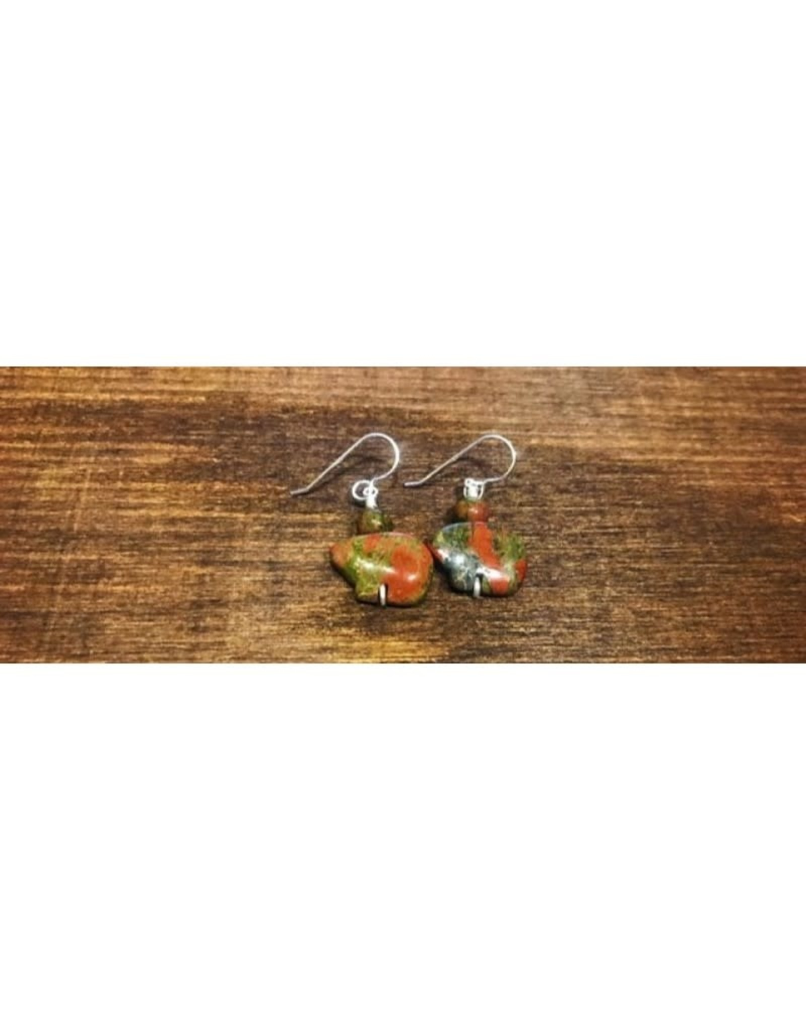 French Hook Earrings - Unakite Bears w/ Bead