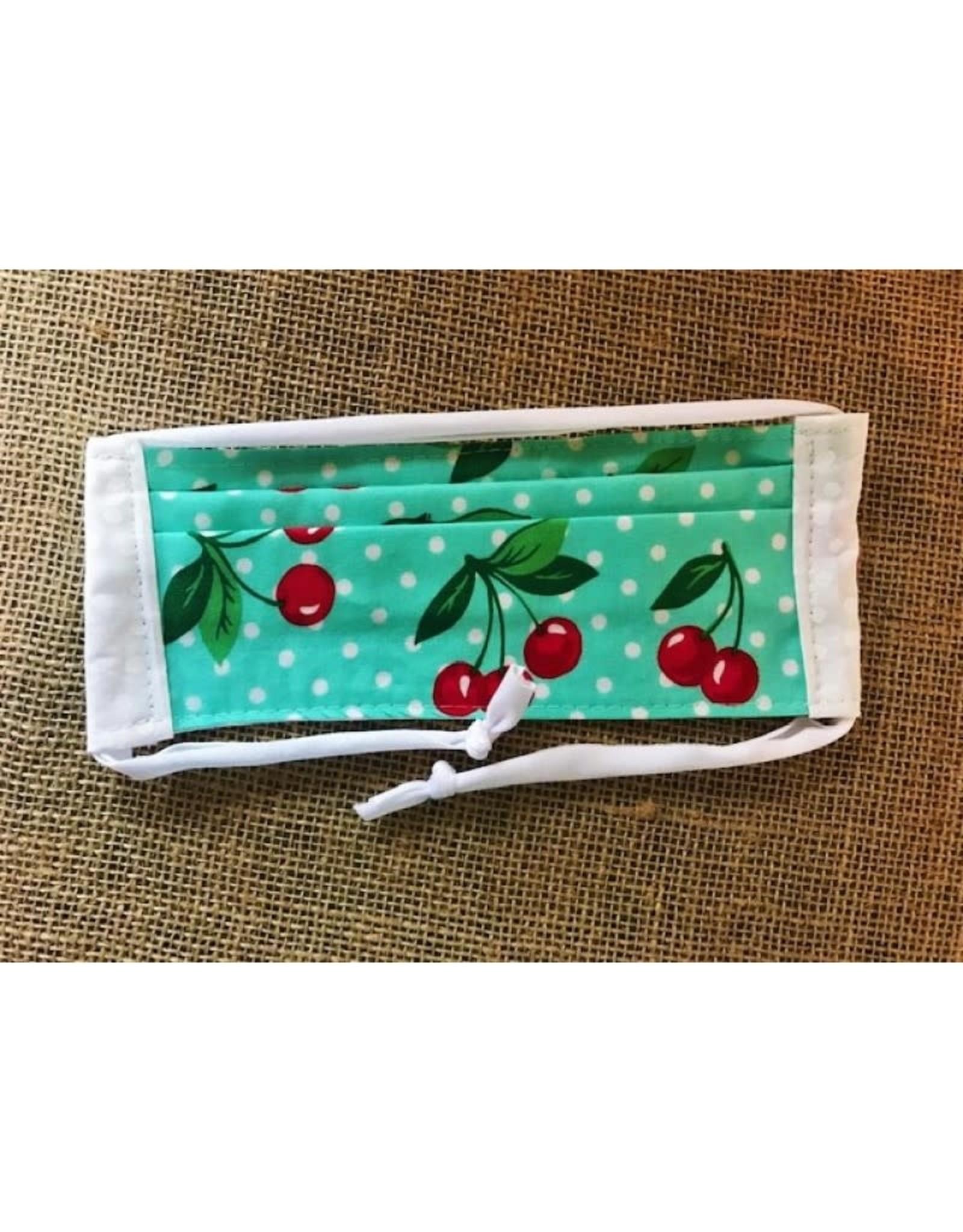 Bear Den Handmade Cotton Mask - Turquoise Cherry