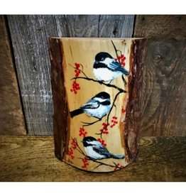 Chickadees on Wood