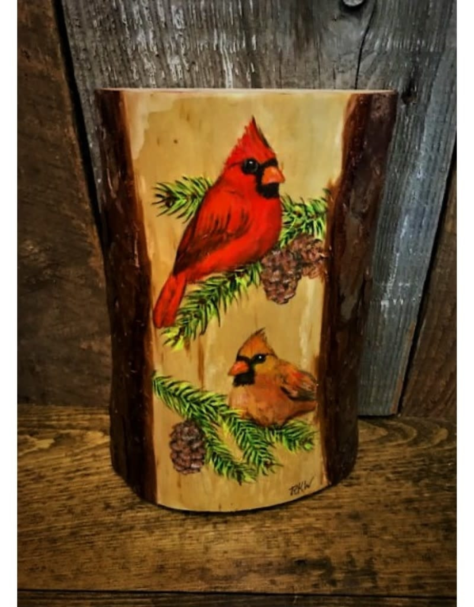 Cardinals on Wood