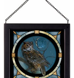 Glass Art - Silver Great Horned Owl