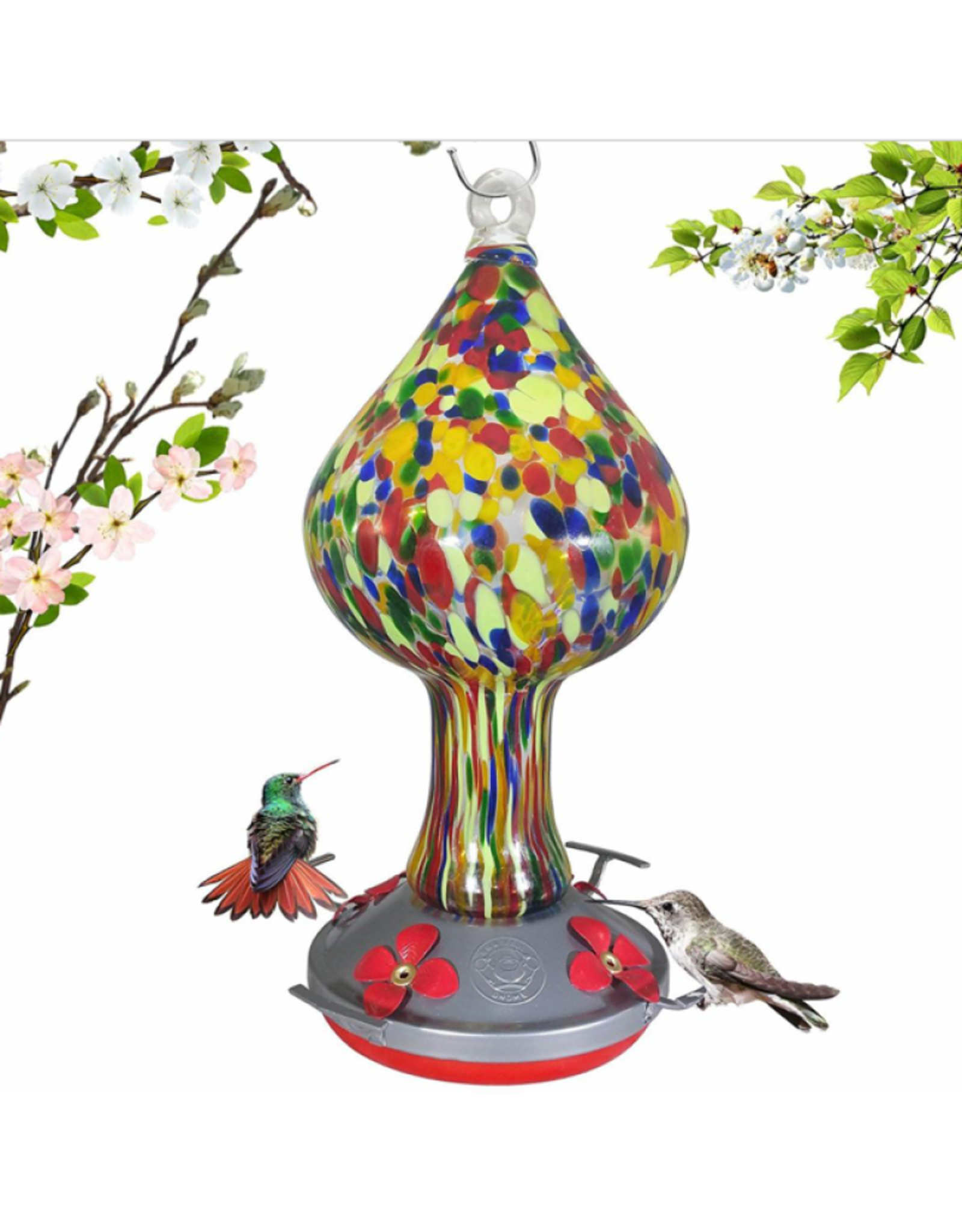 Hummingbird Feeder - Colorful Mushroom Warm Tones