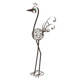 BIrd Statue - 48 Inch Filigree with Green Beads