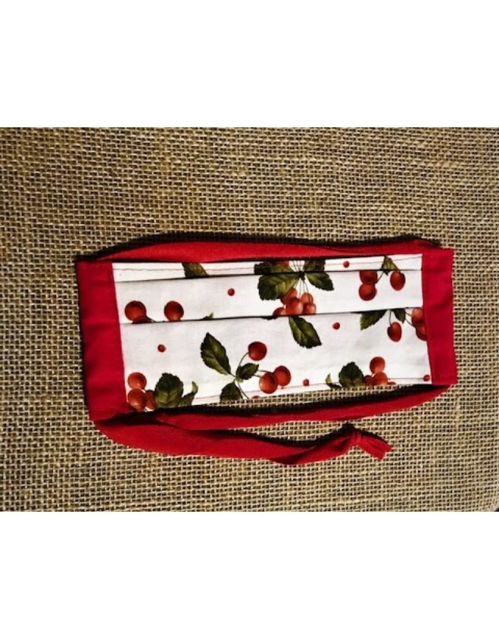 Bear Den Handmade Cotton Mask - Cherries on White