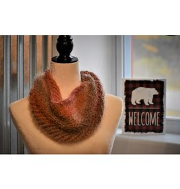 CraftCesi Knit Infinity Scarf - Coral Ombre