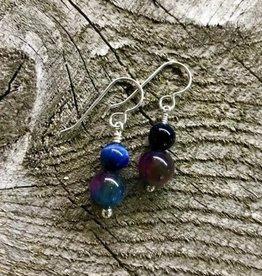 French Hook Earrings - Two-Stone Rainbow Tiger's Eye