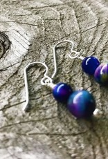 French Hook Earrings - Two-Stone Rainbow Tiger's Eye