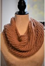 CraftCesi Knit Infinity Scarf - Pink Alpaca