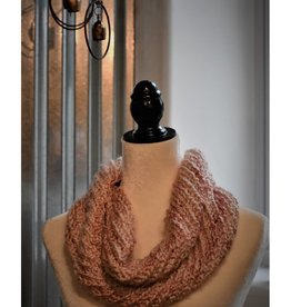CraftCesi Knit Infinity Scarf - Pink - White
