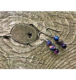 French Hook Earrings - 3 Stone Rainbow Tiger's Eye