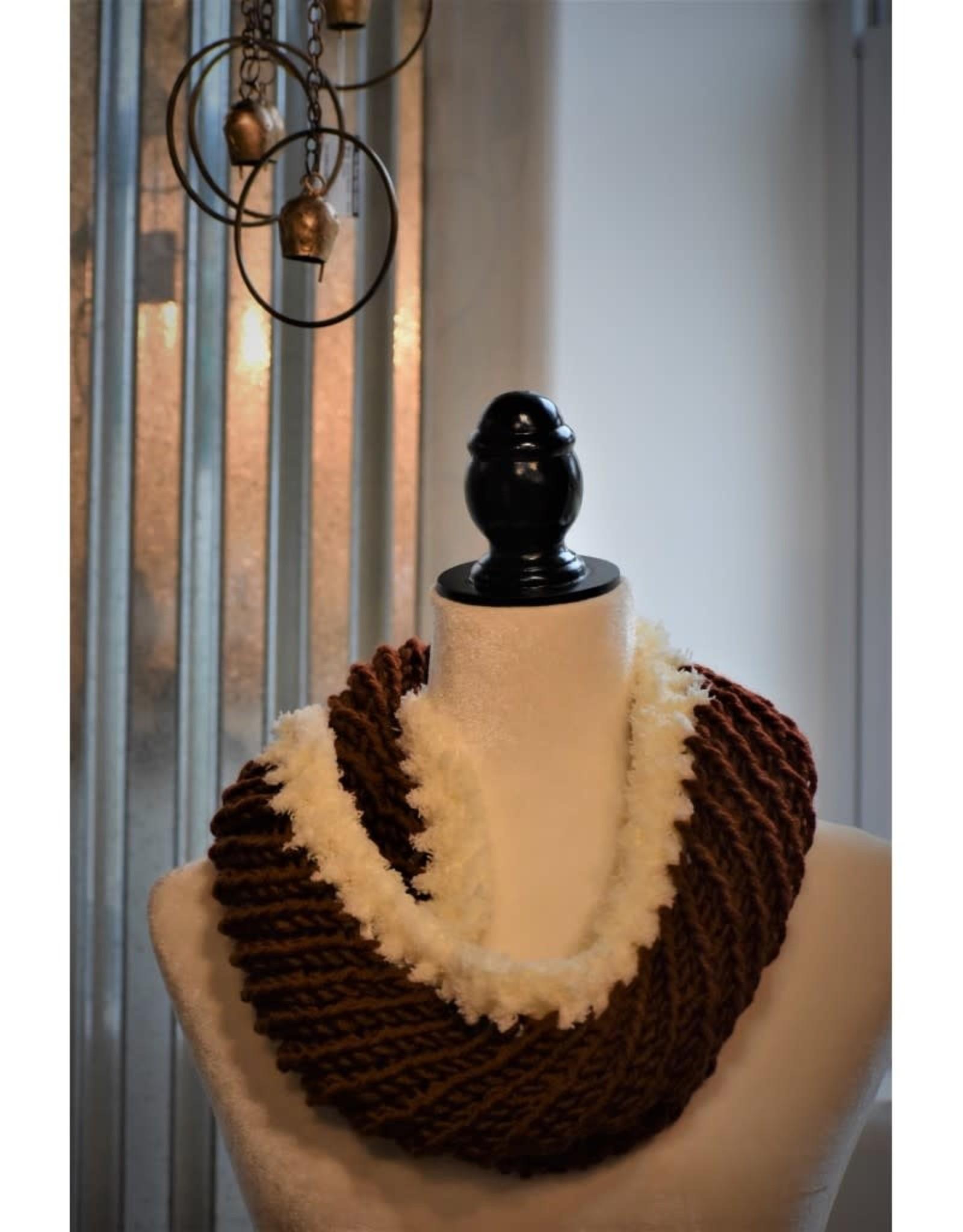 CraftCesi Knit Infinity Scarf  - White Trim Dark Pumpkin Spice