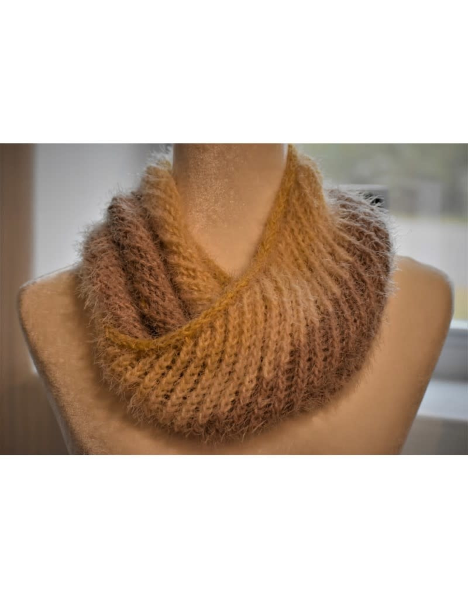 CraftCesi Knit Infinity Scarf  - Yellow & Brown Ombre