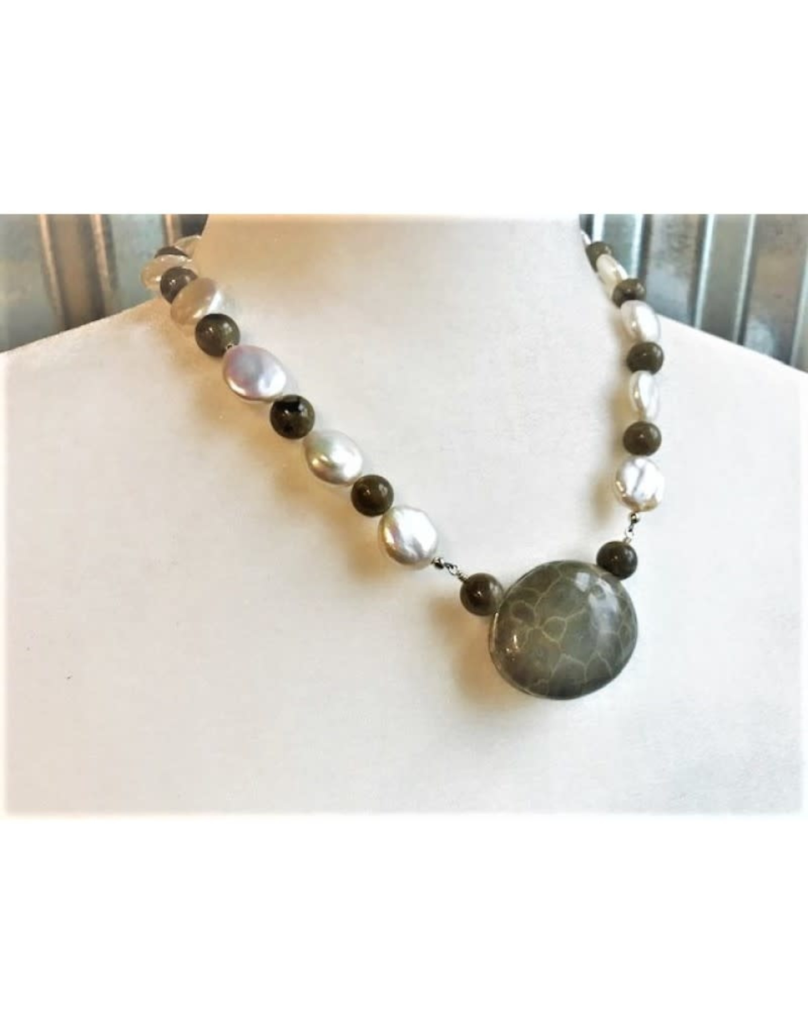 Necklace - Petoskey Stone & Freshwater Pearl