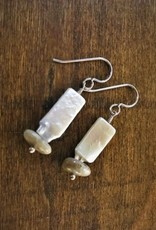 French Hook Earrings - Pearl & Petoskey Rectangle