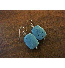French Hook Earrings - Leland Blue Rectangle