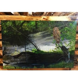 'Solitude' - Barred Owl Original 24x36 By Ron Weztel