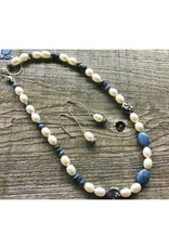 Beaded Necklace - Freshwater Pearl & Leland Blue