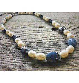 Beaded Necklace - Freshwater Pearl & Leland Blue