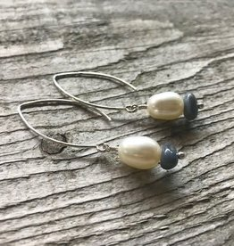 Dangle Earrings - Freshwater Pearl & Leland Blue