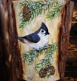 Painting on Wood - Tufted Titmouse