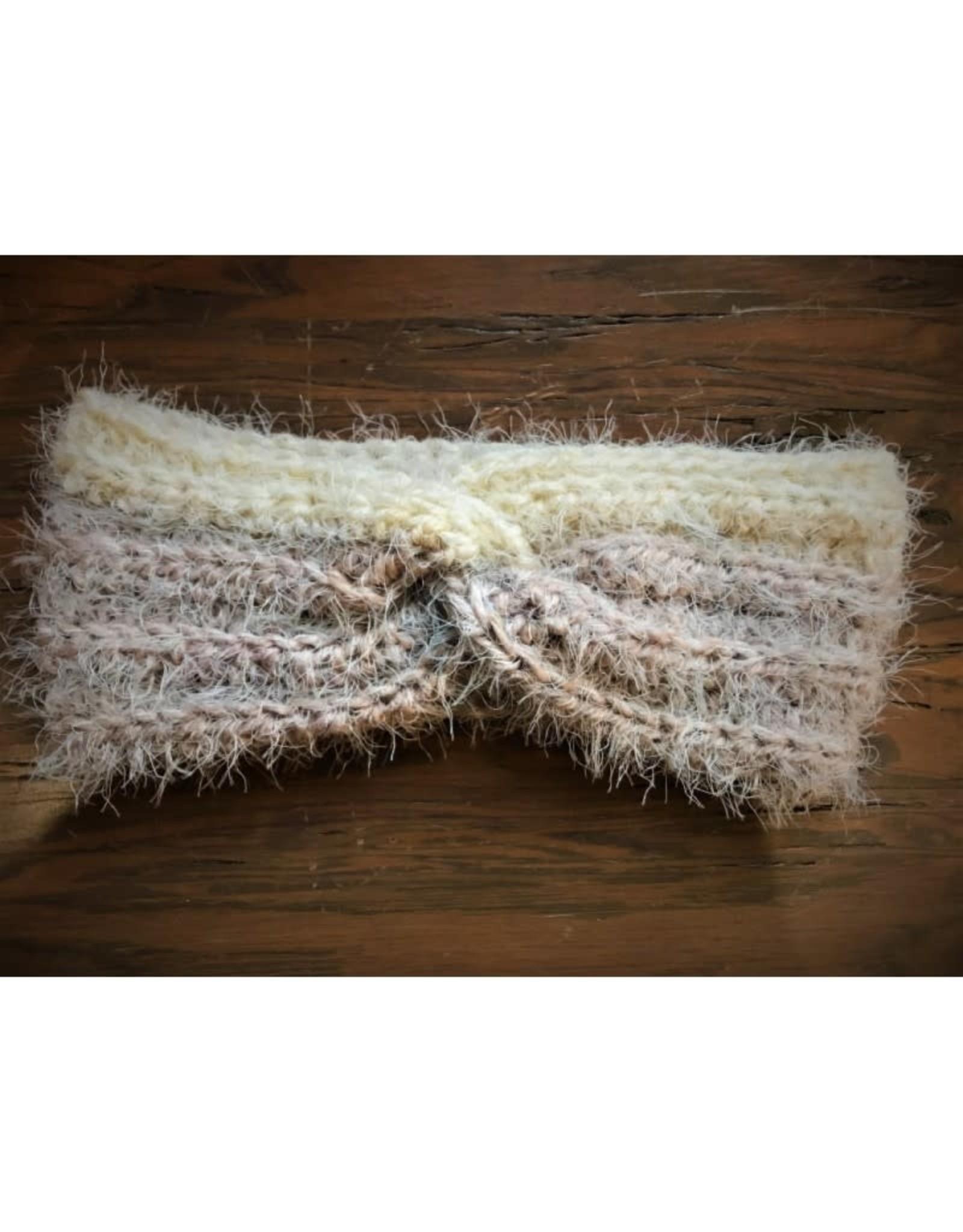 CraftCesi Knit Ear Warmer - Brown Cream