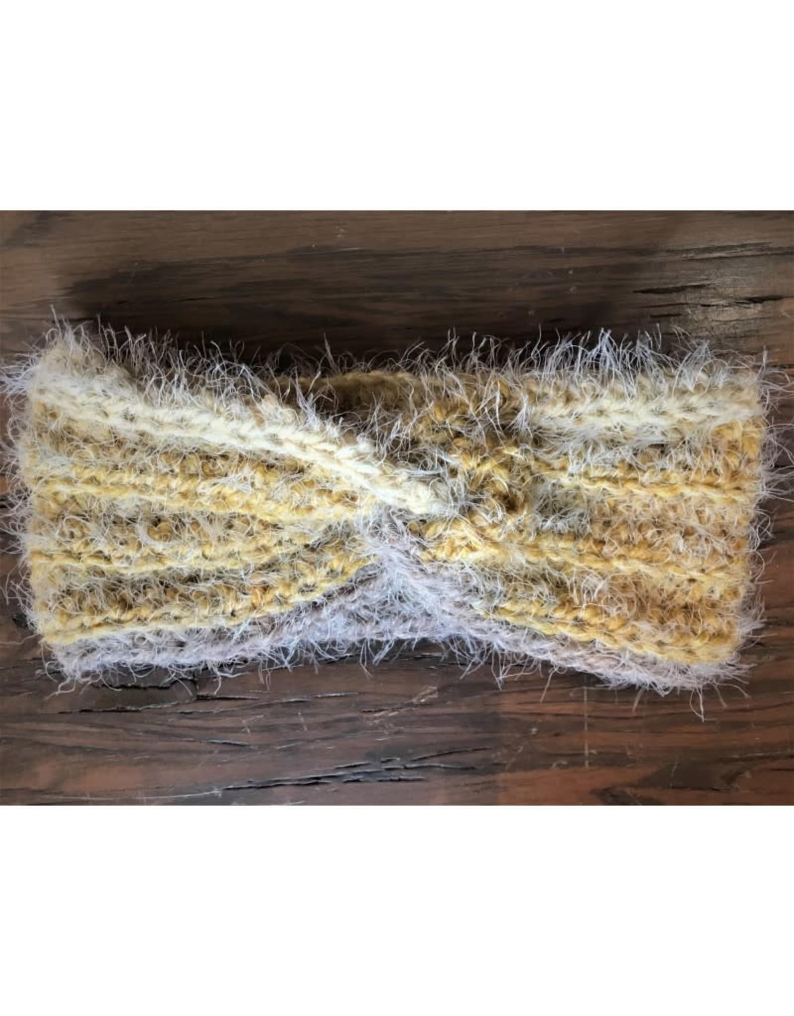 CraftCesi Knit Ear Warmer - Yellow - Brown - Cream