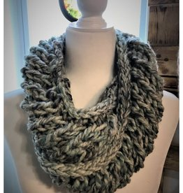 CraftCesi Knit Chunky Infinity Scarf - Blue Shades