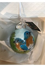 Hand-Painted Ornament - Bluebird Duo in Spring