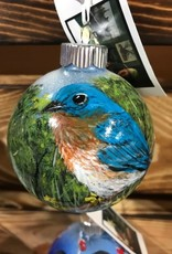 Hand-Painted Ornament - Bluebird in Spring with Tall Grass