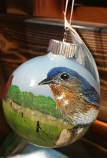 Hand-Painted Ornament - Bluebird in Summer on Farm