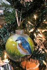 Hand-Painted Ornament - Bluebird on Fencepost in Spring