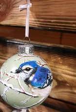 Hand-Painted Ornament - Bluejay in Winter