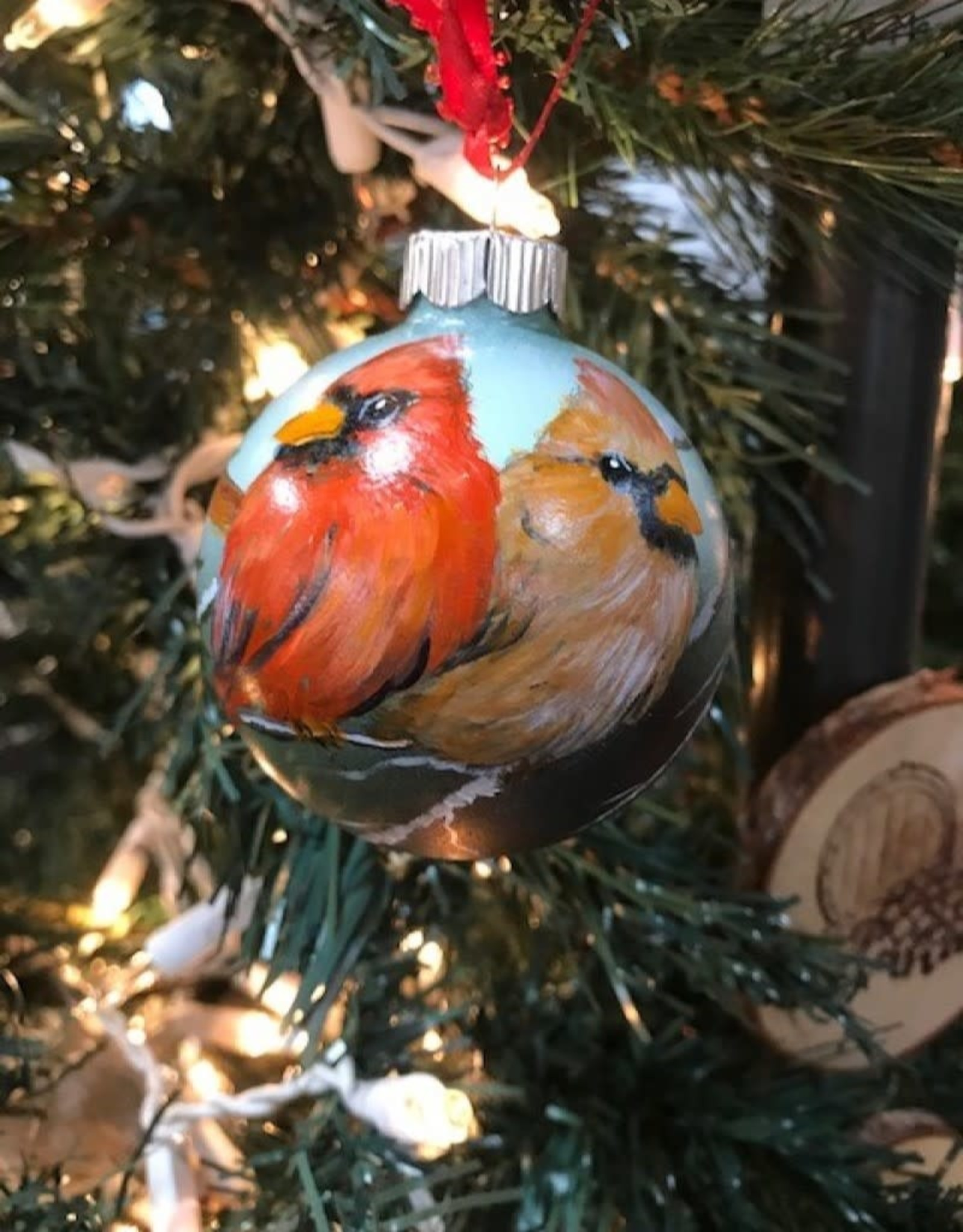 Hand-Painted Ornament - Cardinal Duo in Winter