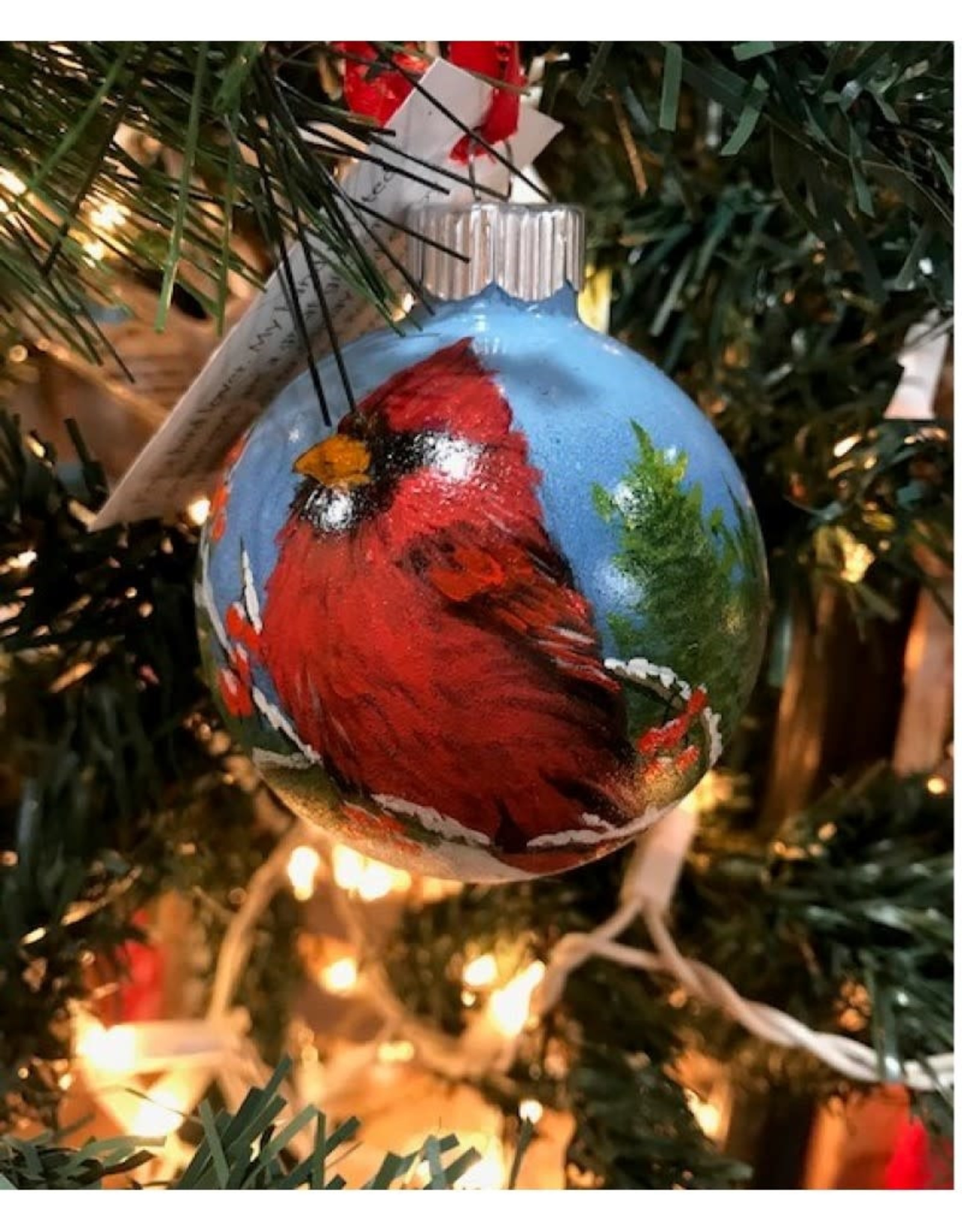 Hand-Painted Ornament - Cardinal in Winter with Berries