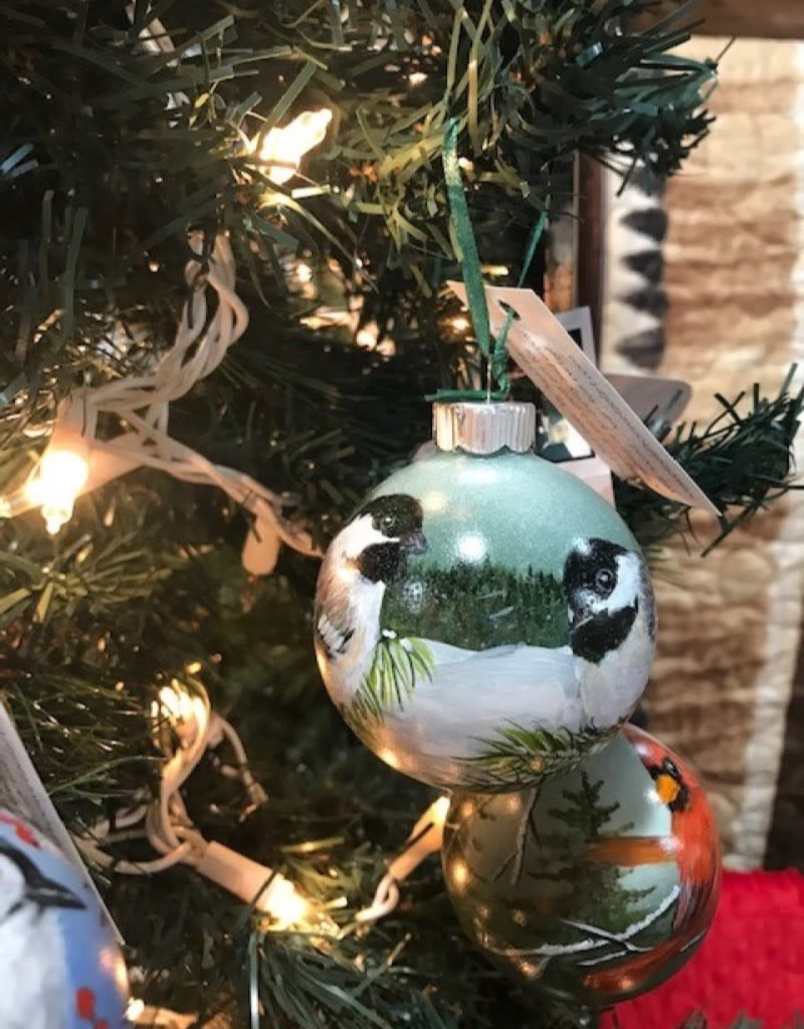 Hand-Painted Ornament - Chickadee Duo in Winter on Pine Tree