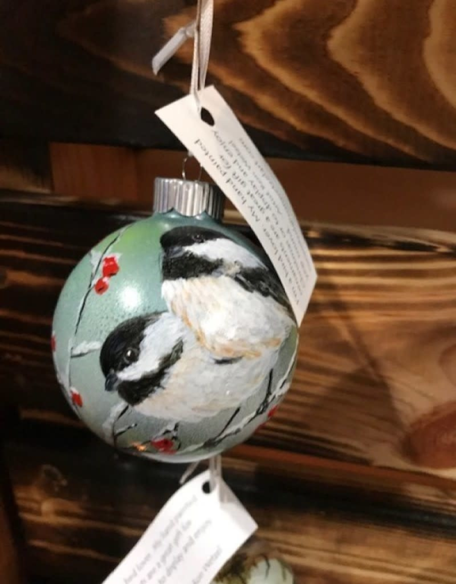 Hand-Painted Ornament - Chickadee Duo in Winter on Tree with Berries