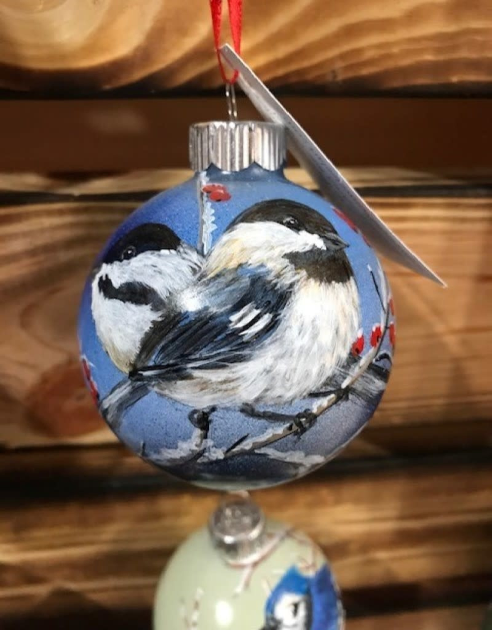 Hand-Painted Ornament - Chickadee Duo in Winter with Berries & Blue Sky