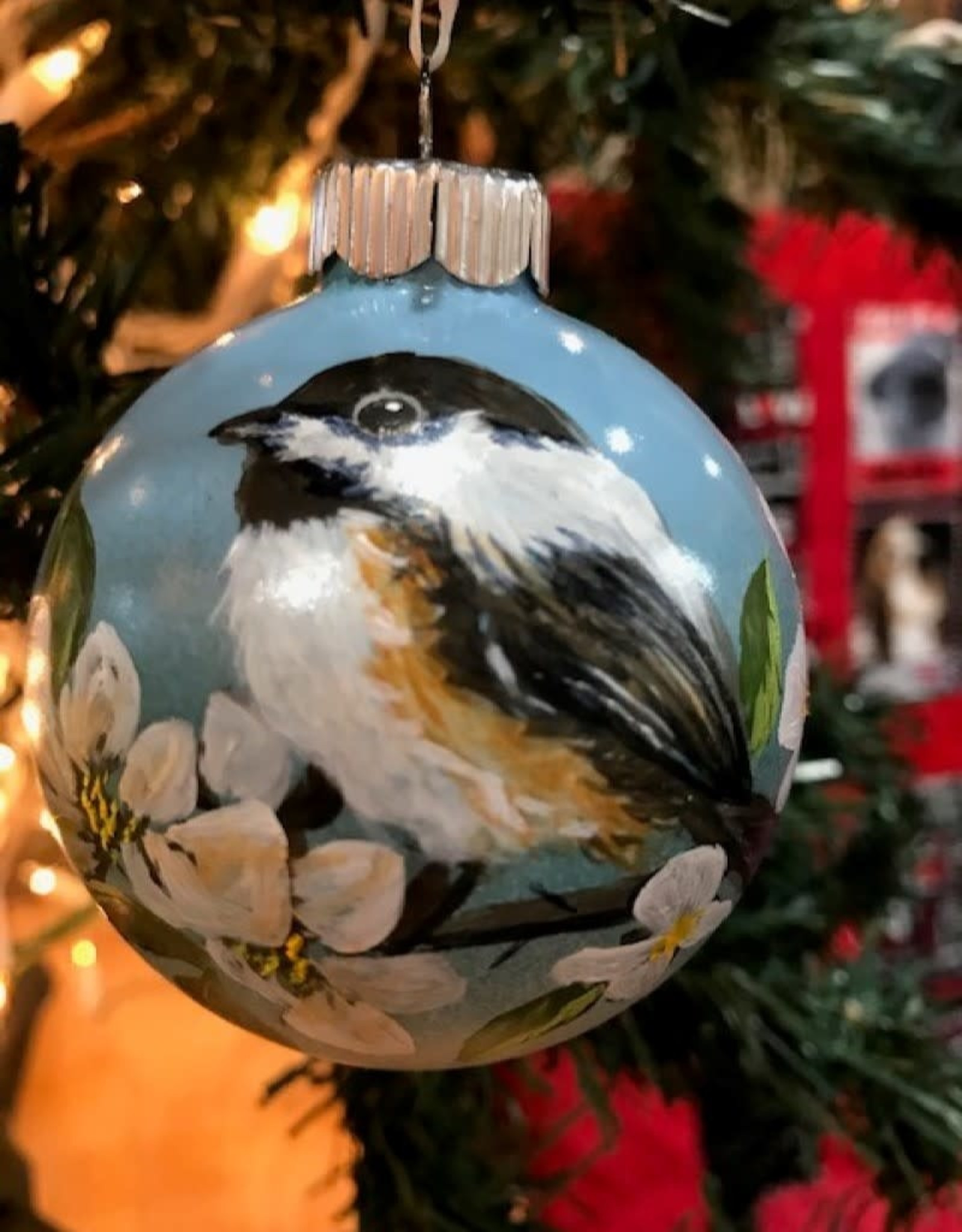 Hand-Painted Ornament - Chickadee in Spring