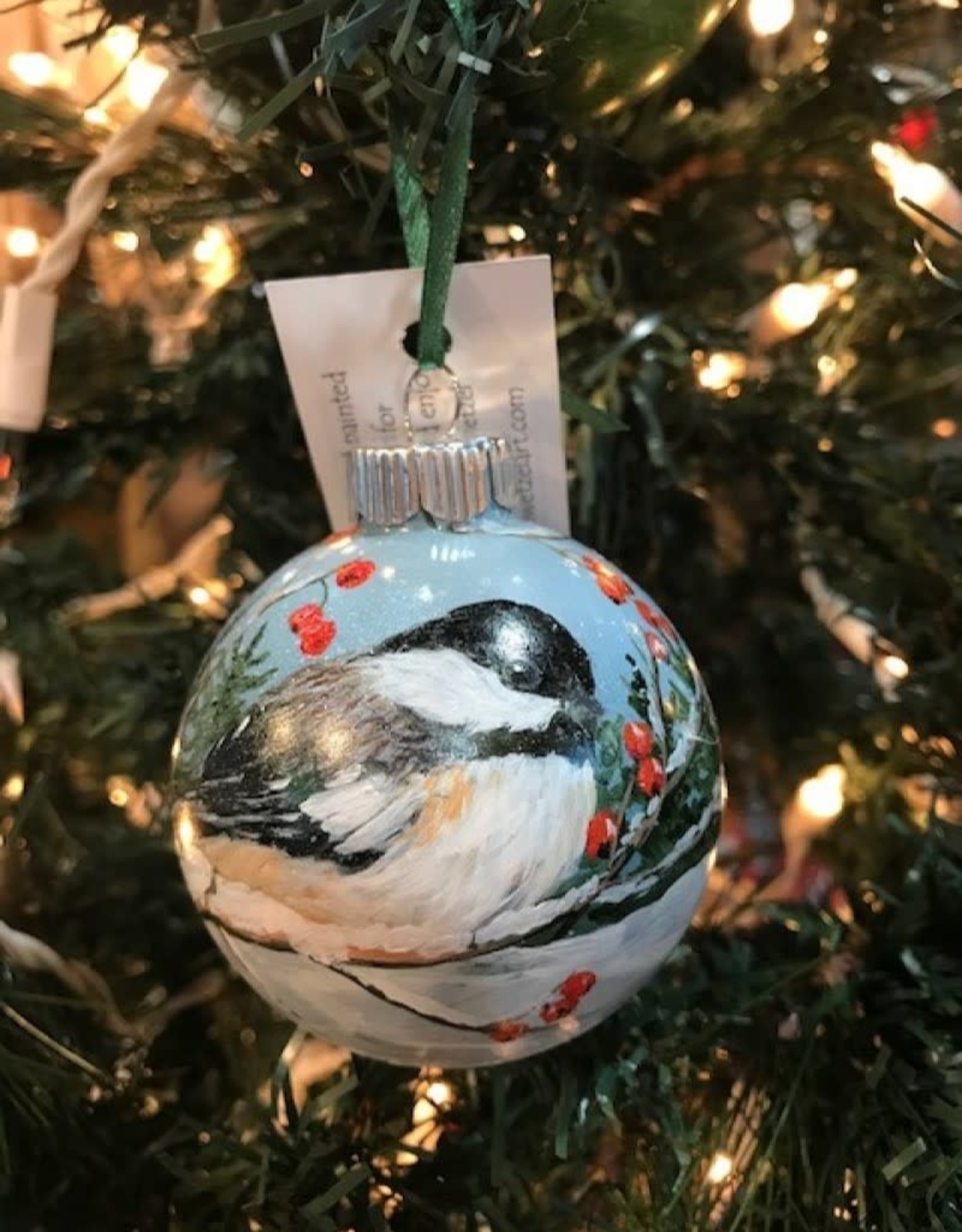 Hand-Painted Ornament - Chickadee in Winter with Berries