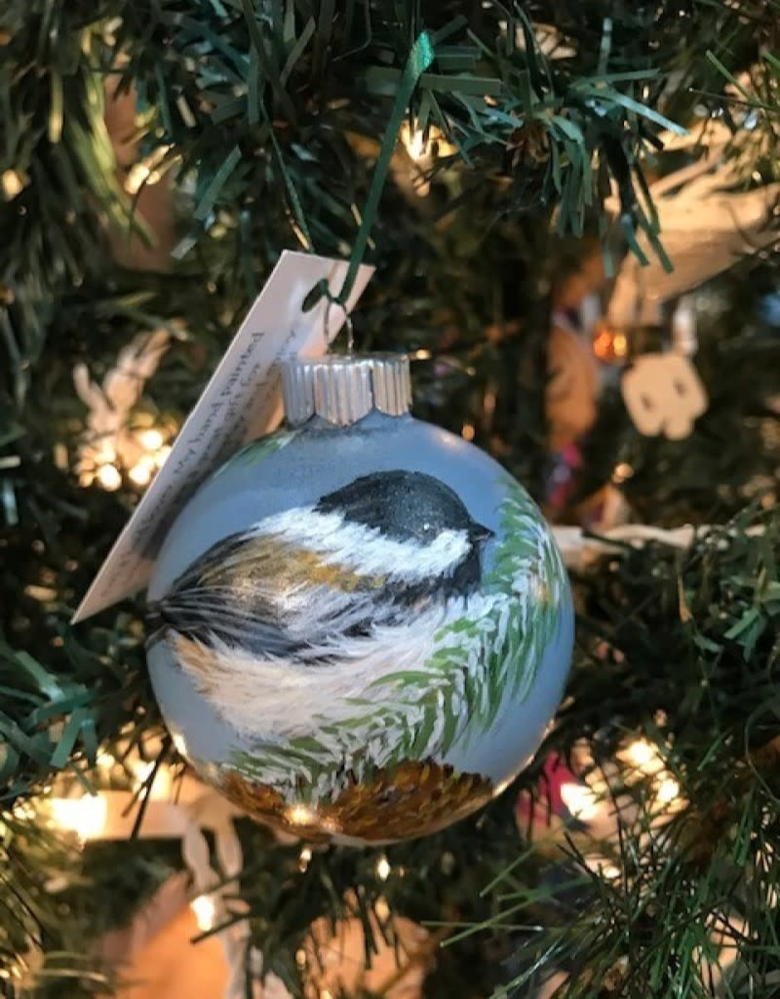 Hand-Painted Ornament - Chickadee in Winter With Pine Cone